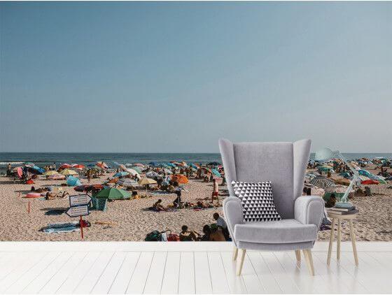 Papier peint paysage...soleil, plage et parasols