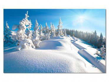 Tableau Montagne Trace dans La Neige Fraiche
