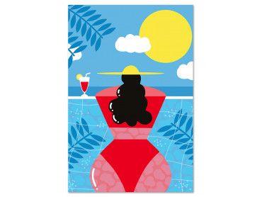 Tableau femme au bord de la piscine