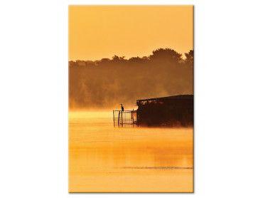 Tableau photo héron sur l'étang blanc
