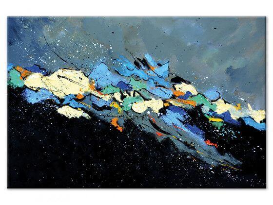 Tableau peinture abstraite tempête en haute mer