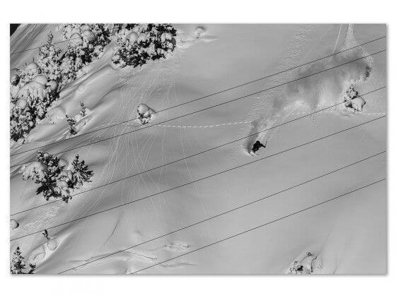 Tableau photo noir et blanc traces snowpowder