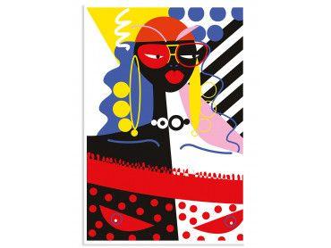 Affiche Collage La Femme Aux Lunettes