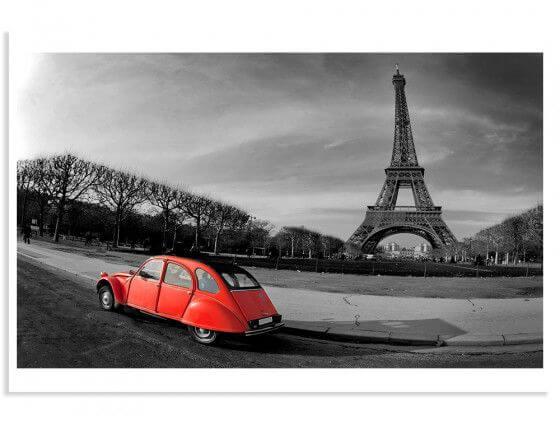 Affiche à encadrer Paris Tour Eiffel et 2cv rouge