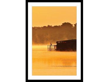 Cadre photo héron sur l'étang blanc