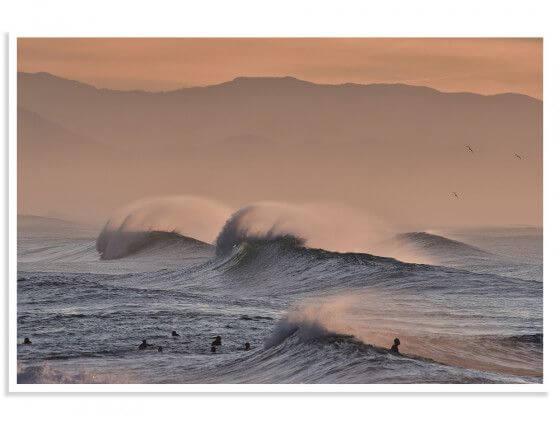 Cadre photo plage Hossegor mouettes au pic