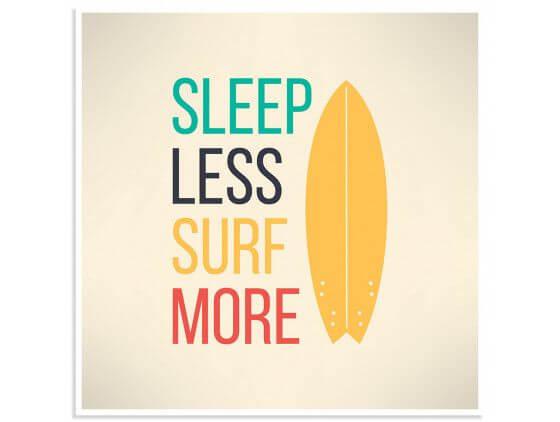Poster illustration citation et surf report