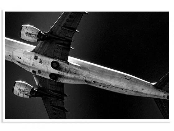 Affiche photo noir et blanc avion Overhead
