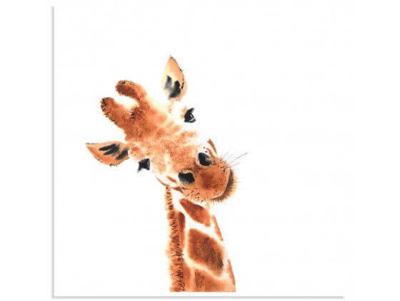Poster dessin charmante girafe