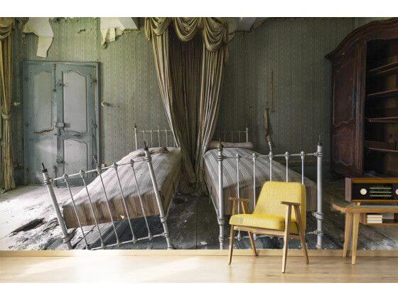 Papier peint trompe oeil chambre hantée