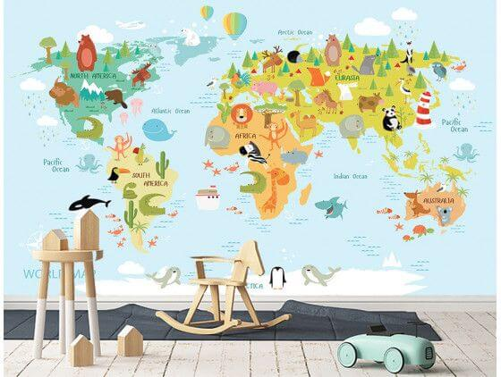Papier peint world map and animals