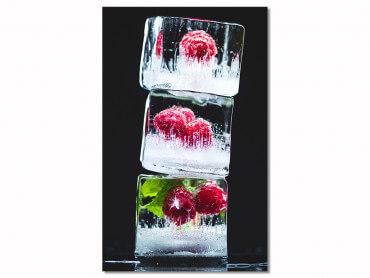 Tableau cuisine design framboises glacees
