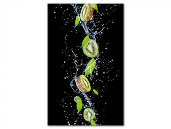 Tableau design kiwi et gouttes d'eau