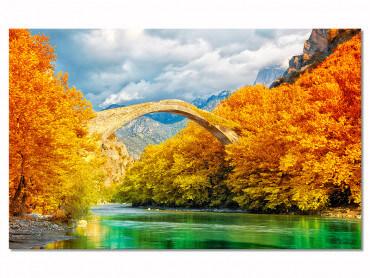 Tableau paysage automnal pont et montagne