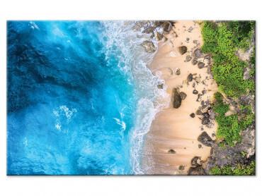 Tableau vue aerienne plage paradisiaque