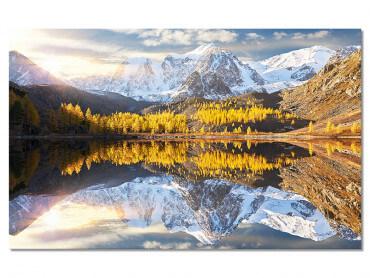 Tableau design paysage paisible lac et montagne