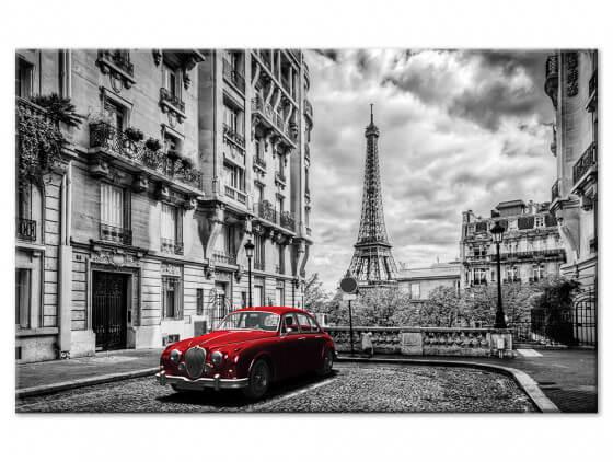 Tableau noir et blanc Paris voiture ancienne rouge