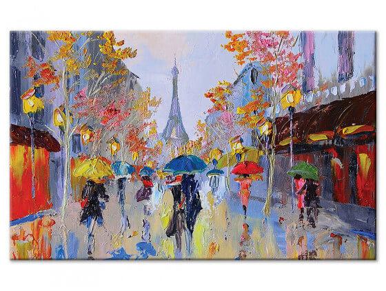Tableau reproduction peinture Paris sous la pluie