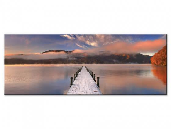 Tableau deco ponton lac et brume