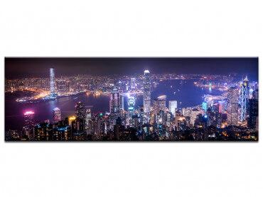 Tableau urbain deco gratte ciel de nuit
