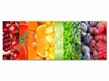 Tableau cuisine arc en ciel de fruits et legumes