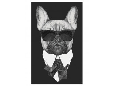 Tableau design bulldog a lunettes men in black