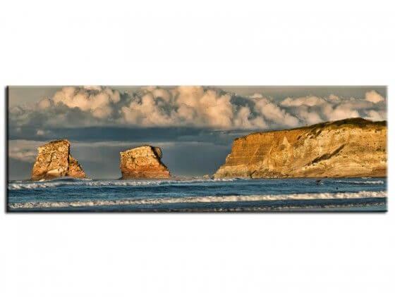 Tableau plage d'hendaye et les rochers des 2 jumeaux