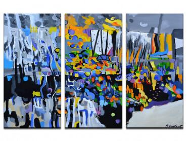 Tableau abstrait champs de bleuet