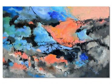 Tableau abstrait ocre et bleu conceptuel