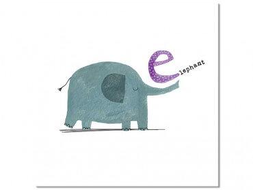 Tableau enfant E comme éléphant