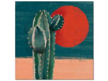 Tableau illustration Cactus et Soleil Rouge