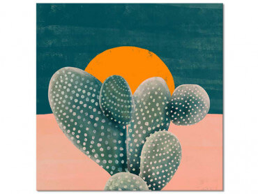 Tableau illustration Cactus et Soleil Orange