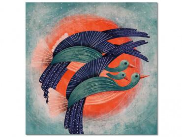 Tableau illustration Oiseau Lyre et Soleil rouge