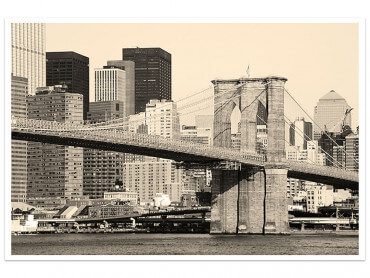 Affiche New York and Brooklyn Bridge