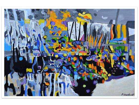 Affiche abstraite Champs de bleuet