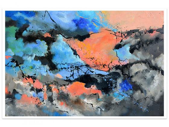 Affiche abstraite Ocre et bleu Provence