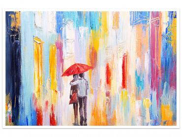 Affiche peinture Parapluie rouge
