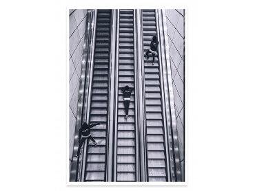 Affiche noir et blanc Clic Clac Escalators