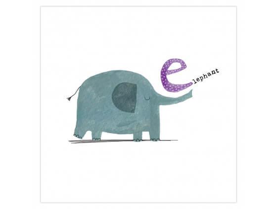 Affiche enfant E comme éléphant