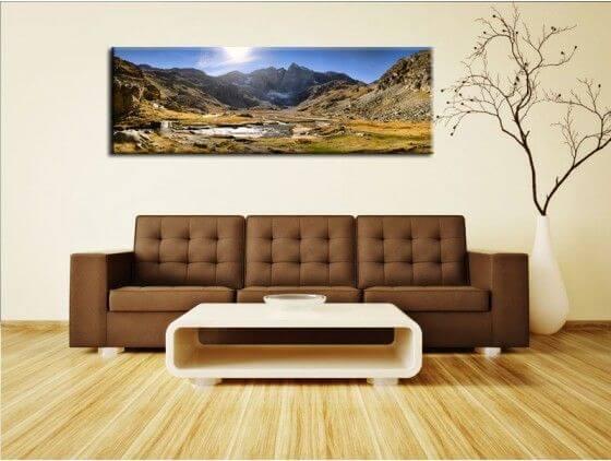 tableau panorama sur la montagne en toile plexi et alu pas cher. Black Bedroom Furniture Sets. Home Design Ideas