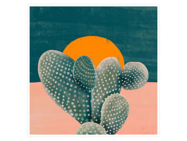 Illustration Cactus et Soleil orange
