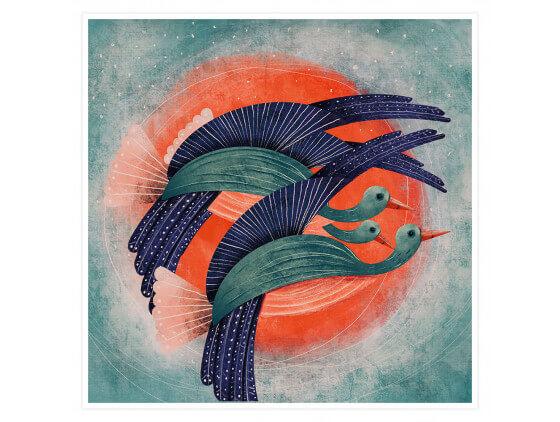 Affiche illustration Oiseau Lyre et Soleil rouge