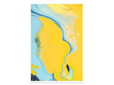 Affiche abstraite ondes sonores et dunes