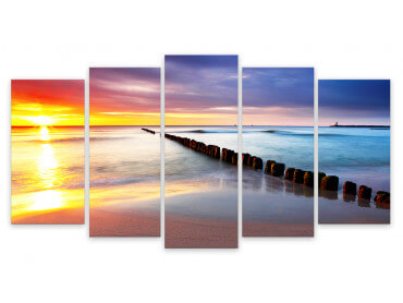 Tableau Moderne, Tableau Photo Paysage Sunset Beach , 150x80cm