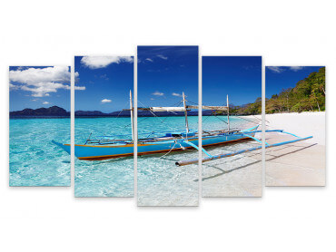 Tableau Pirogue Plage Pattaya -Thailande, 150x80cm