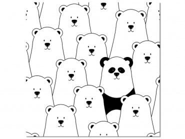 Tableau Enfant Ours blanc et Panda Noir