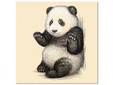 Tableau Enfant Illustration Vintage Panda