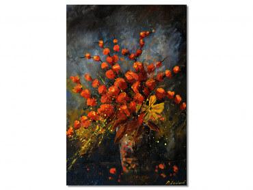 Tableau Deco Vase Fleurs orange