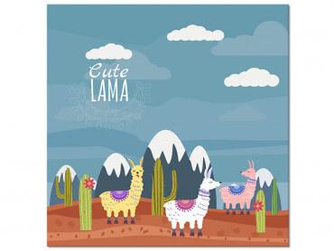 Tableau Illustration Lamas et Sommets enneigés
