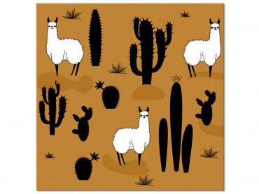 Tableau deco Illustration Lama et Cactus